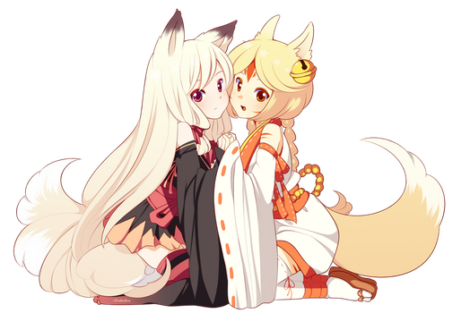 Kitsune pair by poffinbox