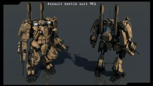 Front and back Assault battle suit MK1 finished by Avitus12