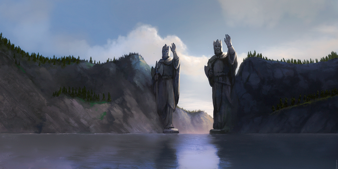 Across Middle-Earth - The Argonath by ralphdamiani