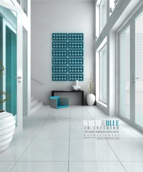 White and Blue Interior by kashghan