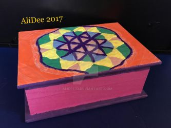 Clay on Wood Box: Flower of Life by AliDee33
