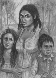 Antonia Rodriguez and her kids Alicia and Roberto by GaryMOConnor