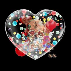 Skull In Glass Heart by zuzugraphics