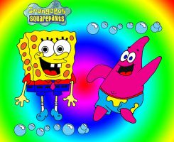 Spongebob and Dude by rockstar-kat666
