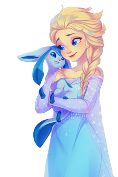 Elsa and Glaceon by Melasiaslodkiflirt