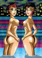 Pool Cavegirls by XJKenny