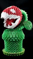 3D origami Piranha plant by Catstrosity