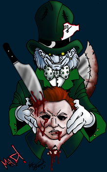 Mad Hatter VS Mike Myers by xXBlackKatXx