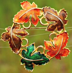 Vintage Colourful Autumn Leaves Brooch by sevvysgirl