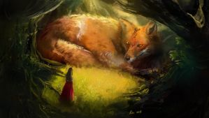 The Fox and The Girl - First Encounter by renmschuu