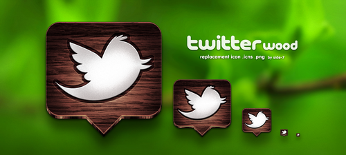 twitter wood icon by Side-7