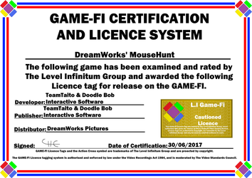DreamWorks MouseHunt Game-Fi Phase Two Certificate by LevelInfinitum