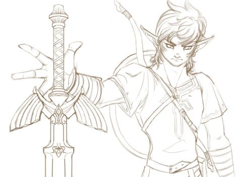 BotW Link and Master Sword by AerithReborn