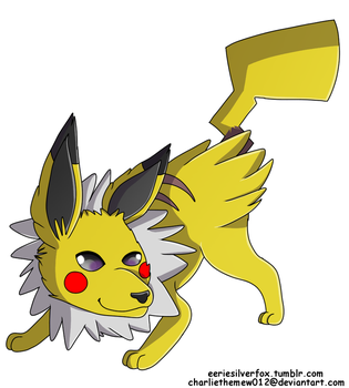 Pokemon Fusion: jolteon + pikachu by charliethemew012