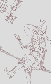 Owl Witch lineart version by DanielValerian