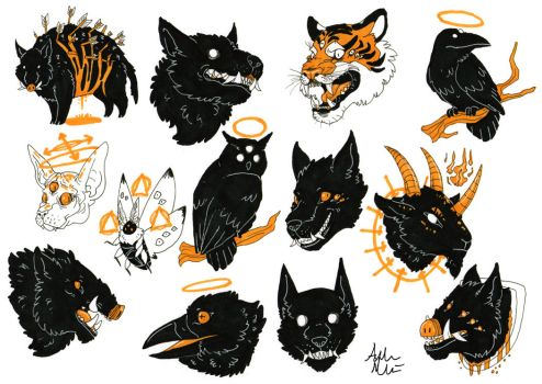 Spooky Animals in Black and Orange by Gomis