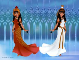 heavenly twins - Isis and Nephthys by Eolewyn1010