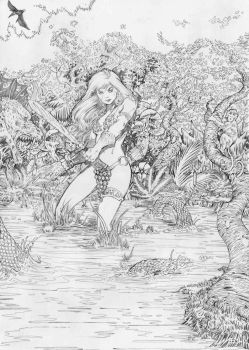 Red Sonja pencil by jefterleite