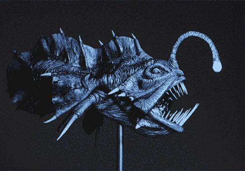 Prehistoric Angler fish / Painted GIF by Heliot8