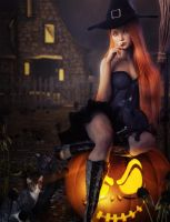 Redhead Witch Sitting on a Pumpkin, 3D-Art by shibashake