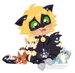 cat son + pile of kittens by NattiKay