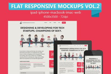 Flat Responsive Web Mockups Vol.2 by graphiccon
