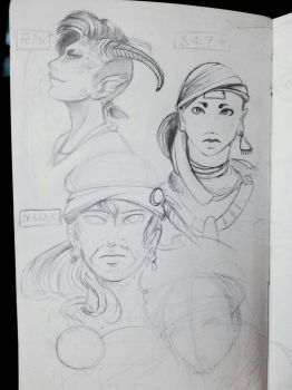 Lady sketches by Ahkward