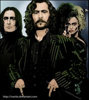 Snape, Sirius and Bellatrix by Inarita