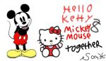 Hello Kitty and Mickey Mouse Together by TrainboysArtwork
