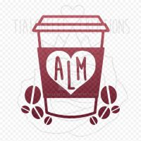 Decal - Coffee Lover - Custom Monogram Initials by TiaLorelei