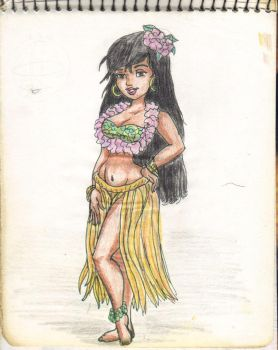 A18 Chica Hawaiana color sketch 001 by tochin