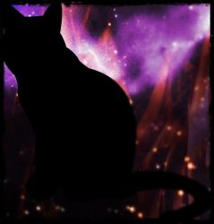 Galaxy-Cat Silhouette by ChocolateFrog18