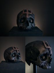 TRIDENT skull, rusted trident emblem with skull by torvenius