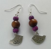 lilac and brown wood pearls with silver birds by syn-O-nyms