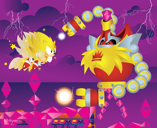 Super Sonic vs heavy king- Sonic Mania by Linkabel32