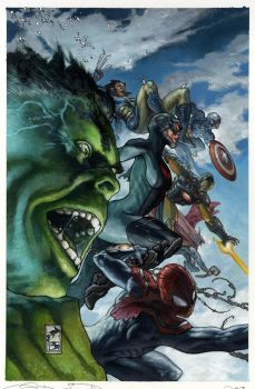 Avengers fully painted cover by simonebianchi
