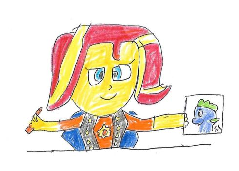 Sunset Shimmer drew a picture of Spike by dth1971