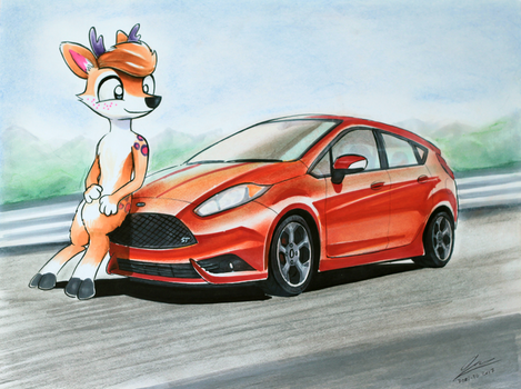Ford Fiesta ST and Sulka The Deer by Dori-to