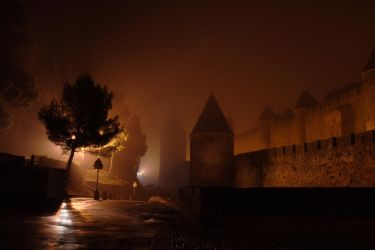 Carcassonne in the fog by GailJohnson