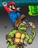 Mario vs. Michelangelo by BlackSnowComics