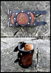 Valknut Leather Cuff by Huldukottr