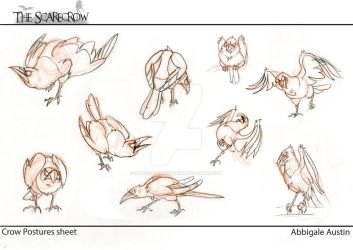 Old model sheet for crow characters by lupinemoonfeather