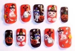 Halloween cat nails by The-Lady-of-Kuo