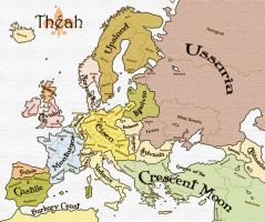 Alternate Europe Map for Theah by theloneamigo
