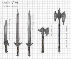 Cyrodiil - Colovian Steel Weapons concept art by BeyondSkyrim