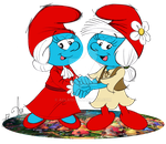 Two Mama Smurfs by acla13