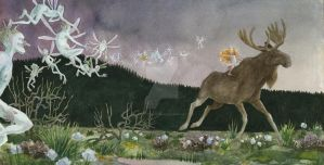 Leap the Elk and Little Princess Cottongrass II by CharlotteHintzmann