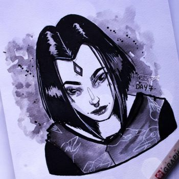 Inktober '17 - DAY 7 - Raven by as-obu