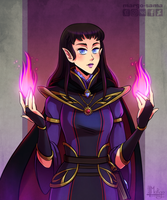 [Commission][DnD] Half-elf Warlock by Margo-sama