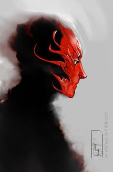 The Red Witchs Mask by synticfaye
